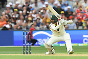 3rd December 2017, Adelaide Oval, Adelaide, Australia; The Ashes Series, Second Test, Day 2, Australia versus England; Nathan Lyon of Australia plays an un orthodox shot to the off side