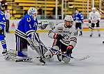 29 December 2018: Northeastern University Huskies Forward Austin Goldstein, a Sophomore from Reading, MA, in second period action against the University of Alabama Huntsville Chargers at Gutterson Fieldhouse in Burlington, Vermont. The Huskies shut out the Chargers 2-0 in the Catamount Cup tournament at the University of Vermont. Mandatory Credit: Ed Wolfstein Photo *** RAW (NEF) Image File Available ***