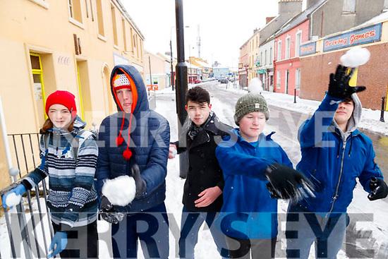 Jordan McCaghey, Cormac O'Sullivan, Nathan Reay, Eoghan O'Sullivan and Kelvin Rohan Kenny snow in Ballybunnion on Friday.