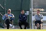 29 November 2009: UNC coaches. From left: head coach Elmar Bolowich, assistant coach, assistant coach Carlos Somoano, assistant coach Jeff Negalha. The University of North Carolina Tar Heels defeated the Indiana University Hoosiers 1-0 at Fetzer Field in Chapel Hill, North Carolina in an NCAA Division I Men's Soccer Tournament Third Round game.