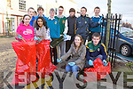 Transition year students from Mercy Mounthawk who are participating in the Jr. Rotary Interact Project took to Ashe St. on Monday to help clean it up. Pictured were: Aoife Rush, Catherine Murphy, Lydia Walsh, Paul Ruane, John Nolan, Ryan Keely, Michael O'Leary, Ryan Freeman O'Brien, Brendan O'Connor, Cormac Leen, Sarah Morris and Brendan O'Brien.