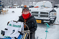 Charmayne Morrison portrait at the start of the 2018 Junior Iditarod Sled Dog Race on Knik Lake in Southcentral, Alaska.  Saturday February 24, 2018<br /> <br /> Photo by Jeff Schultz/SchultzPhoto.com  (C) 2018  ALL RIGHTS RESERVED