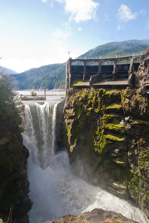 Elwha River Restoration, Glines Canyon Dam removal, March 16, 2012, Largest dam removal project in US history, Olympic National Park, Olympic Peninsula, Washington State, Pacific Northwest, USA, North America, This is the upper of two dams in the project.