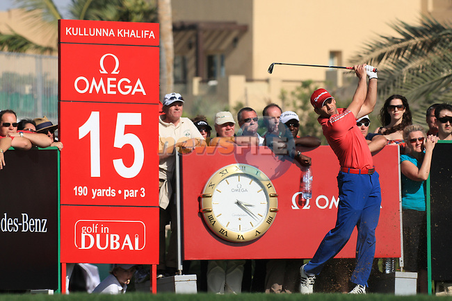 Sergio garcia (ESP) in action at the Omega Dubai Desert Classic 2011 on the Majlis Course, Emirates Golf Club, Dubai, UAE. 13/02/2011Speaking after the prize giving to reporters about his final round..Picture Fran Caffrey/www.golffile.ie.