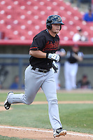 Justin Seager (10) of the Bakersfield Blaze runs to first base during a game against the High Desert Mavericks at Mavericks Stadium on May 18, 2015 in Adelanto, California. High Desert defeated Bakersfield, 7-6. (Larry Goren/Four Seam Images)