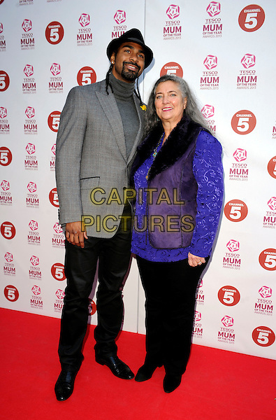 David Haye & Jane Haye.attended the Tesco Mum Of The Year Awards 2013, Savoy Hotel, The Strand, London, England..March 3rd, 2013.full length black grey gray turtleneck goatee facial hair hat top purple top trousers waistcoat mother mom son family jacket.CAP/PP/GM.©Gary Mitchell/PP/Capital Pictures