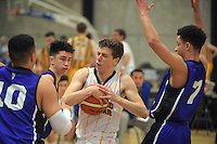 Thomas Whyte (AGS) in action during the SAS Secondary Schools National Basketball Championships AA boys pool match between Auckland Grammar School and St Patrick's (Town) College at Arena Manawatu in Palmerston North, New Zealand on Wednesday, 28 September 2016. Photo: Dave Lintott / lintottphoto.co.nz