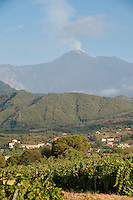 View of Zafferana Etnea and Mt Etna from Tenuta San Michele, Sicily