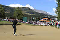Mike Lorenzo-Vera (FRA) plays his 2nd shot on the 18th hole and lands in the water during Sunday's Final Round 4 of the 2018 Omega European Masters, held at the Golf Club Crans-Sur-Sierre, Crans Montana, Switzerland. 9th September 2018.<br /> Picture: Eoin Clarke | Golffile<br /> <br /> <br /> All photos usage must carry mandatory copyright credit (&copy; Golffile | Eoin Clarke)