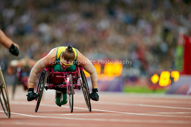 Australia's Rosemary Little finishes fourth in the women's T34 200m final at the London Paralympic Games - Athletics 6.9.12