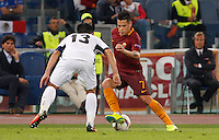Calcio, Europa League: Roma vs Astra Giurgiu. Roma, stadio Olimpico, 29 settembre 2016.<br /> Roma&rsquo;s Juan Iturbe, right, is challenged by Astra Giurgiu&rsquo;s Junior Morais during the Europa League Group E soccer match between Roma and Astra Giurgiu at Rome's Olympic stadium, 29 September 2016. Roma won 4-0.<br /> UPDATE IMAGES PRESS/Riccardo De Luca