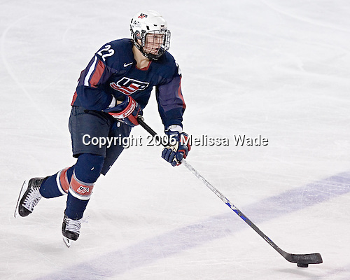 Colin Wilson carries the puck up ice. The University of New Hampshire Wildcats defeated the United States National Team Development Program's Under-18 Team 7-1 on Saturday, October 14, 2006 at the Whittemore Center in Durham, New Hampshire.<br />