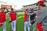 21 September 2012: Milwaukee Brewers pitcher Livan Hernandez has a words with former teammates prior to a game against the Washington Nationals at Nationals Park in Washington, DC. The Brewers rallied in the 9th inning to defeat the Nationals 4-2 in the first game of their 4-game series. Mandatory Credit: Ed Wolfstein Photo