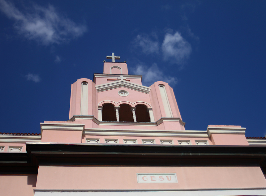 Old miami downtown pink church with gesu inscription