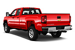 Car pictures of rear three quarter view of a 2018 Chevrolet Silverado 2500HD Work Truck Long Box Double Cab 4 Door Pick Up angular rear