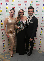03/06/2014  <br /> Karen Morrison	who recieved the Teacher of the Year  award from  Shane Filan &amp; Imelda May<br /> during the Pride of Ireland awards at the Mansion House, Dublin.<br /> Photo: Gareth Chaney Collins