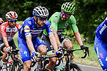 Elia Viviani (ITA) Deceuninck-Quick Step and Green Jersey Peter Sagan (SVK) Bora-Hansgrohe chat during Stage 6 of the 2019 Tour de France running 160.5km from Mulhouse to La Planche des Belles Filles, France. 11th July 2019.<br /> Picture: ASO/Pauline Ballet | Cyclefile<br /> All photos usage must carry mandatory copyright credit (© Cyclefile | ASO/Pauline Ballet)