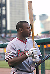 08 July 2011            Arizona Diamondbacks right fielder Justin Upton (10) before taking his first at-bat.  The Arizona Diamondbacks beat the St. Louis Cardinals 7-6 in the second game of a four game series on Friday July 8, 2011 at Busch Stadium in downtown St. Louis.