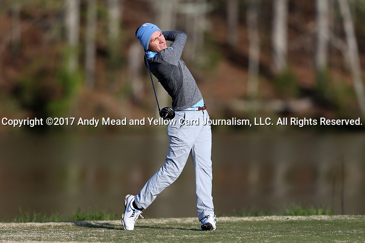 KANNAPOLIS, NC - APRIL 09: North Carolina's Jose Montano (BOL) tees off on the 9th hole. The third round of the Irish Creek Intercollegiate Men's Golf Tournament was held on April 9, 2017, at the The Club at Irish Creek in Kannapolis, NC.