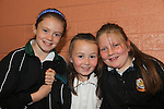 Ella duff<br /> Lucy englishby<br /> Louise fitzsimons at the GAA coaching in Collon NS<br /> Picture:  Fran Caffrey / www.newsfile.ie