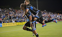 San Jose, California - Saturday, May 19, 2012: The San Jose Earthquakes' Alan Gordon celebrates after scoring a goal against the Columbus Crew to tie the game 1-1 at Buck Shaw Stadium during a regular season game.