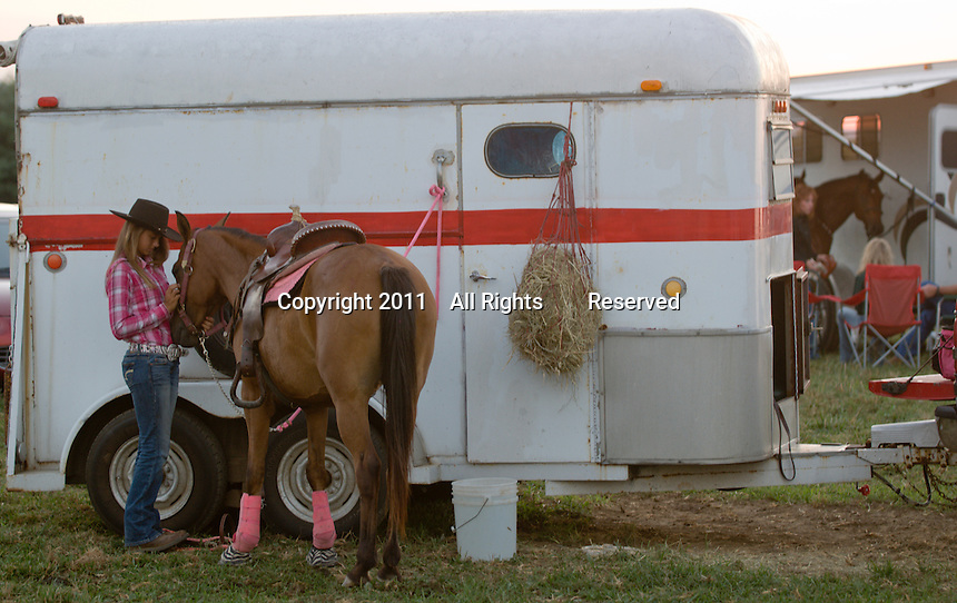 Johnsville, MD: J Bar W Ranch -- Ashley Smith with her horse Dutchess