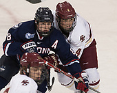 Spencer Naas (UConn - 8), Michael Kim (BC - 4) - The Boston College Eagles defeated the visiting UConn Huskies 2-1 on Tuesday, January 24, 2017, at Kelley Rink in Conte Forum in Chestnut Hill, Massachusetts.
