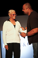International recording star and music icon, Dionne Warwick with her son, Grammy Award-winning music producer Damon Elliott, on stage before the Miami Style Showcase at Miami Beach International Fashion Week ... Photo by Debi Pittman Wilkey