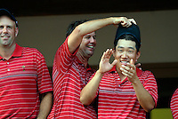 Captain Paul Azinger leads the celebrations with Anthony Kim at the clubhouse victory over Europe after the Singles on the Final Day of the Ryder Cup at Valhalla Golf Club, Louisville, Kentucky, USA, 21st September 2008 (Photo by Eoin Clarke/GOLFFILE)