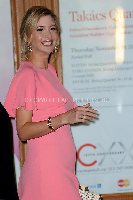 WWW.ACEPIXS.COM<br /> November 9, 2015 New York City<br /> <br /> Ivanka Trump is seen outside Carnegie Hall on November 9, 2015 in New York City.<br /> <br /> Credit: Kristin Callahan/ACE<br /> <br /> Tel: (646) 769 0430<br /> e-mail: info@acepixs.com<br /> web: http://www.acepixs.com