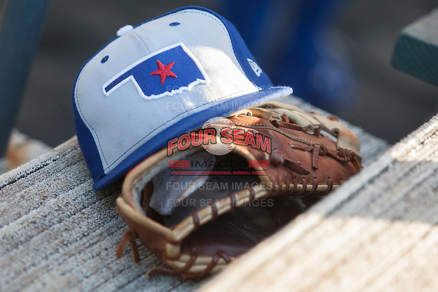 Oklahoma City Dodgers hat during the Pacific Coast League baseball game against the Round Rock Express on June 9, 2015 at the Dell Diamond in Round Rock, Texas. The Dodgers defeated the Express 6-3. (Andrew Woolley/Four Seam Images)