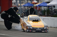 Sept. 30, 2012; Madison, IL, USA: NHRA funny car driver Jeff Arend during the Midwest Nationals at Gateway Motorsports Park. Mandatory Credit: Mark J. Rebilas-