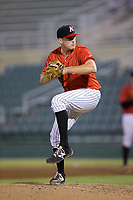 Kannapolis Intimidators relief pitcher Mick VanVossen (40) in action against the Hagerstown Suns at Kannapolis Intimidators Stadium on June 15, 2017 in Kannapolis, North Carolina.  The Intimidators defeated the Suns 9-1 in game two of a double-header.  (Brian Westerholt/Four Seam Images)