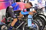 EF Education First rider warms up on the turbo before Stage 1 of the 2019 Giro d'Italia, an individual time trial running 8km from Bologna to the Sanctuary of San Luca, Bologna, Italy. 11th May 2019.<br /> Picture: Eoin Clarke | Cyclefile<br /> <br /> All photos usage must carry mandatory copyright credit (© Cyclefile | Eoin Clarke)