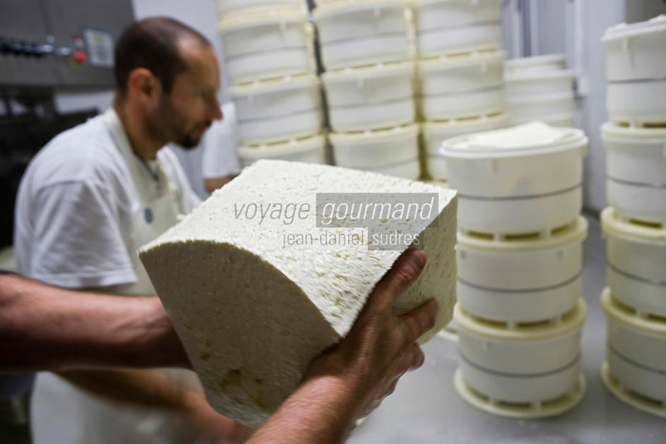 Europe/France/Midi-Pyrénées/81/Tarn/ Viane: Préparation des fromages Monts de Lacaune Tradition à la Laiterie Fabre