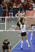 16 December 2006: Stanford Cardinal Erin Waller during Stanford's 30-27, 26-30, 28-30, 27-30 loss against the Nebraska Huskers in the 2006 NCAA Division I Women's Volleyball Final Four Championship match at the Qwest Center in Omaha, NE.