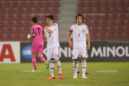 (L to R) <br /> Shinji Kagawa, <br /> Yasuhito Endo (JPN), <br /> JUNE 11, 2013 - Football / Soccer : <br /> FIFA World Cup Brazil 2014 Asian Qualifier <br /> Final Round Group B <br /> between Iraq 0-1 Japan <br /> at Al-Arabi Stadium, Doha, Qatar. <br /> (Photo by YUTAKA/AFLO SPORT)