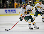 16 February 2008: University of Vermont Catamounts' forward Corey Carlson, a Junior from Two Harbors, MN, in action against the Merrimack College Warriors at Gutterson Fieldhouse in Burlington, Vermont. The Catamounts defeated the Warriors 2-1 for their second win of the 2-game weekend series...Mandatory Photo Credit: Ed Wolfstein Photo