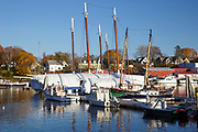 Camden Harbor in downtown Camden, Maine during the autumn months. The town of Camden is located on the coast of Maine.