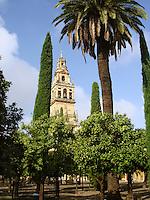 Torre del Alminar and Patio de los Naranjos - Orange Patio in Cordoba, Spain. It is part of Cordoba's great mosque dating back to 8th century.