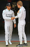 10.05.2014 Barcelona, Spain. F1 Spanish Grand Prix. Picture show Lewis Hamilton (GBR) and Nico Rosberg (GER) Mercedes AMG Petronas F1 Team after finish qualifying at Circuit de Barcelona-Catalunya