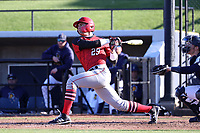 GREENSBORO, NC - FEBRUARY 25: Giacomo Brancato #29 of Fairfield University hits the ball during a game between Fairfield and UNC Greensboro at UNCG Baseball Stadium on February 25, 2020 in Greensboro, North Carolina.