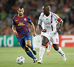 Barcelona's Javier Mascherano and AC Milan's Clarence Seedorf during Champions League match on september 13th 2011...Photo: Cesar Cebolla / ALFAQUI