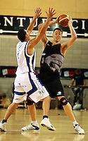 Saints guard Reece Cassidy pressure Tim Behrendorff during the NBL match between the Wellington Saints and Christchurch Cougars at Te Rauparaha Stadium, Porirua, Wellington, New Zealand on Saturday 4 April 2009. Photo: Dave Lintott / lintottphoto.co.nz