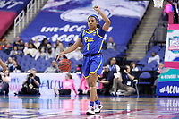 GREENSBORO, NC - MARCH 04: Dayshanette Harris #1 of the University of Pittsburgh runs the offense during a game between Pitt and Notre Dame at Greensboro Coliseum on March 04, 2020 in Greensboro, North Carolina.