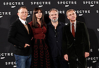 Il regista inglese Sam Mendes, secondo da destra, posa con gli attori, da sinistra, Daniel Craig, Monica Bellucci e Christoph Waltz, a destra, durante un photocall per la presentazione del suo film 'Spectre' a Roma, 27 ottobre 2015.<br /> British director Sam Mendes, second from right, poses with actors, from left, Daniel Craig, Monica Bellucci and Christoph Waltz, right, during a photocall for the presentation of his movie 'Spectre' in Rome, 27 October 2015.<br /> UPDATE IMAGES PRESS/Isabella Bonotto<br /> <br /> *** ITALY AND GERMANY OUT  ***