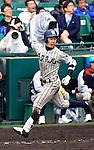 Teppei Matsumoto (Tsuruga Kehi),<br /> APRIL 1, 2015 - Baseball :<br /> Teppei Matsumoto of Tsuruga Kehi celebrates as he runs to home plate after hitting a two-run home run in the bottom of the eighth inning during the 87th National High School Baseball Invitational Tournament final game between Tokai University Daiyon 1-3 Tsuruga Kehi at Koshien Stadium in Hyogo, Japan. (Photo by Katsuro Okazawa/AFLO)8 1