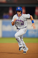 South Bend Cubs first baseman Austin Upshaw (16) runs the bases during a game against the Kane County Cougars on July 23, 2018 at Northwestern Medicine Field in Geneva, Illinois.  Kane County defeated South Bend 8-5.  (Mike Janes/Four Seam Images)