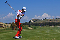 Eunshin Park (KOR) on the 8th tee during Round 3 of the Rocco Forte Sicilian Open 2018 played at Verdura Resort, Agrigento, Sicily, Italy on Saturday 12th May 2018.<br /> Picture:  Thos Caffrey / www.golffile.ie<br /> <br /> All photo usage must carry mandatory copyright credit (&copy; Golffile   Thos Caffrey)