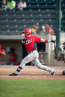 Orem Owlz first baseman Connor Fitzsimons (14) follows through on his swing during a Pioneer League game against the Missoula Osprey at Ogren Park Allegiance Field on August 19, 2018 in Missoula, Montana. The Missoula Osprey defeated the Orem Owlz by a score of 8-0. (Zachary Lucy/Four Seam Images)